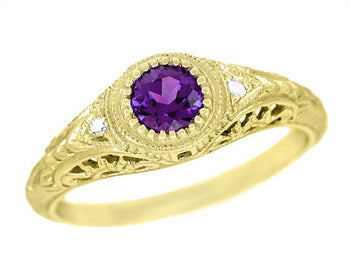 1920's Art Deco Filigree Vintage Engraved Amethyst Engagement Ring in 18K Yellow Gold with Side Diamonds | Low Profile