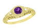 1920's Art Deco Filigree Yellow Gold Vintage Engraved Amethyst Engagement Ring with Side Diamonds | Low Profile