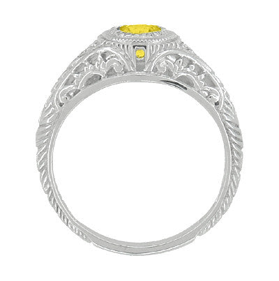 Art Deco Engraved Yellow Sapphire and Diamond Filigree Engagement Ring in 14 Karat White Gold - Item: R138YES - Image: 2