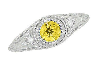 Art Deco Engraved Yellow Sapphire and Diamond Filigree Engagement Ring in 14 Karat White Gold - Item: R138YES - Image: 3