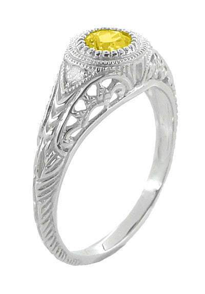 Art Deco Engraved Yellow Sapphire and Diamond Filigree Engagement Ring in 14 Karat White Gold - Item: R138YES - Image: 1