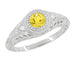 Art Deco Engraved Yellow Sapphire and Diamond Filigree Engagement Ring in 14 Karat White Gold