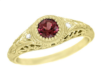 Art Deco Yellow Gold Rhodolite Garnet Filigree Engagement Ring with Side Diamonds