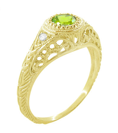 Art Deco Engraved Peridot and Diamond Filigree Engagement Ring in 18 Karat Yellow Gold - Item: R138YPER - Image: 2