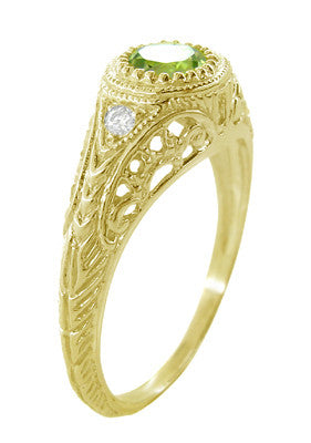 Art Deco Engraved Peridot and Diamond Filigree Engagement Ring in 18 Karat Yellow Gold - Item: R138YPER - Image: 3