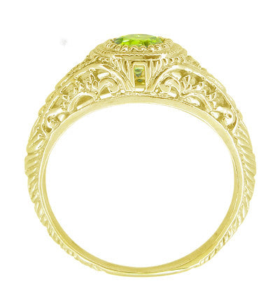 Art Deco Engraved Peridot and Diamond Filigree Engagement Ring in 18 Karat Yellow Gold - Item: R138YPER - Image: 1