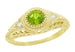 1920's Art Deco Yellow Gold Peridot and Diamond Filigree Engagement Ring