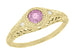 Art Deco Engraved Pink Sapphire and Diamond Filigree Engagement Ring in 18 Karat Yellow Gold