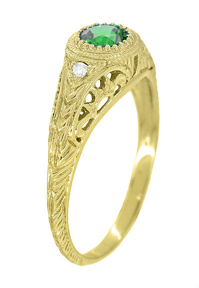 Art Deco Engraved Tsavorite Garnet and Diamond Filigree Engagement Ring in 18 Karat Yellow Gold - Item: R138YTS - Image: 1