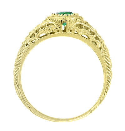 Art Deco Engraved Tsavorite Garnet and Diamond Filigree Engagement Ring in 18 Karat Yellow Gold - Item: R138YTS - Image: 2