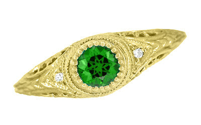 Art Deco Engraved Tsavorite Garnet and Diamond Filigree Engagement Ring in 18 Karat Yellow Gold - Item: R138YTS - Image: 3