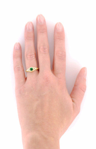 Art Deco Engraved Tsavorite Garnet and Diamond Filigree Engagement Ring in 18 Karat Yellow Gold - Item: R138YTS - Image: 4