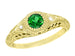 Art Deco Engraved Yellow Gold Tsavorite Garnet Filigree Engagement Ring with Side Diamonds