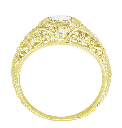 Art Deco Engraved Filigree White Sapphire Engagement Ring in 18 Karat Yellow Gold - Item: R138YWS - Image: 2