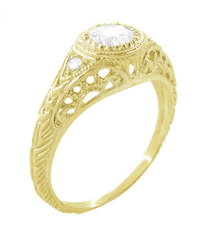 Art Deco Engraved Filigree White Sapphire Engagement Ring in 18 Karat Yellow Gold - Item: R138YWS - Image: 1