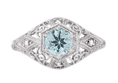 Edwardian Aquamarine and Diamonds Scroll Dome Filigree Engagement Ring in 14 Karat White Gold - Item: R139A - Image: 1