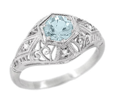 Edwardian Aquamarine and Diamonds Scroll Dome Filigree Engagement Ring in 14 Karat White Gold