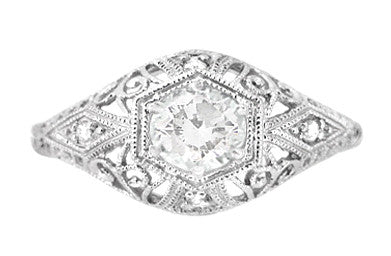 Edwardian Diamond Scroll Dome Filigree Engagement Ring in 14 Karat White Gold - Item: R139D - Image: 1
