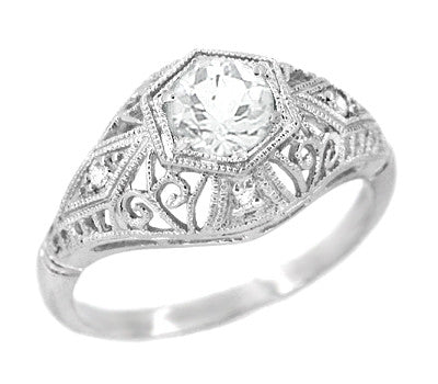 Edwardian Diamond Scroll Dome Filigree Engagement Ring in 14 Karat White Gold