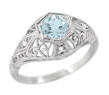 Edwardian Aquamarine and Diamonds Scroll Dome Filigree Engagement Ring in Platinum