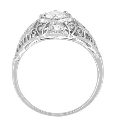 Scroll Dome Filigree Edwardian Diamond Engagement Ring in Platinum - Item: R139PD - Image: 3