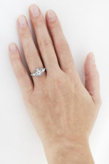 Vintage Scroll Dome Edwardian Engagement Ring R139PD on a Larger Hand