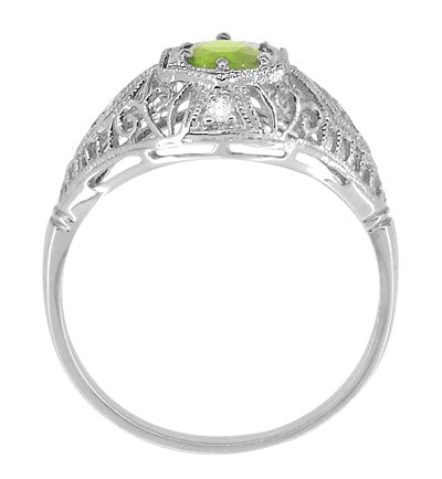 Peridot and Diamonds Filigree Scroll Dome Edwardian Engagement Ring in 14 Karat White Gold - Item: R139PER - Image: 2