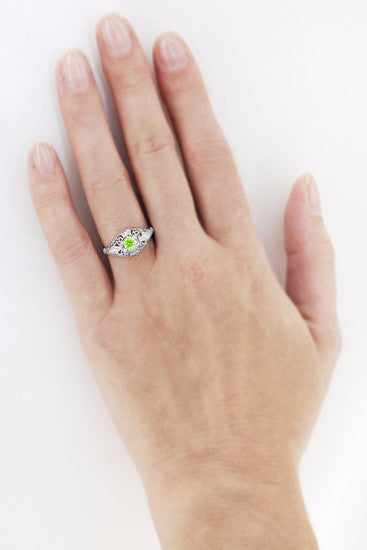 Peridot and Diamonds Filigree Scroll Dome Edwardian Engagement Ring in 14 Karat White Gold - Item: R139PER - Image: 3
