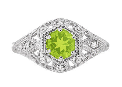 Peridot and Diamonds Filigree Scroll Dome Edwardian Engagement Ring in 14 Karat White Gold - Item: R139PER - Image: 1