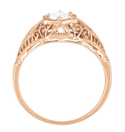 White Sapphire Filigree Scroll Dome Edwardian Engagement Ring in 14 Karat Rose Gold - Item: R139RWS - Image: 3