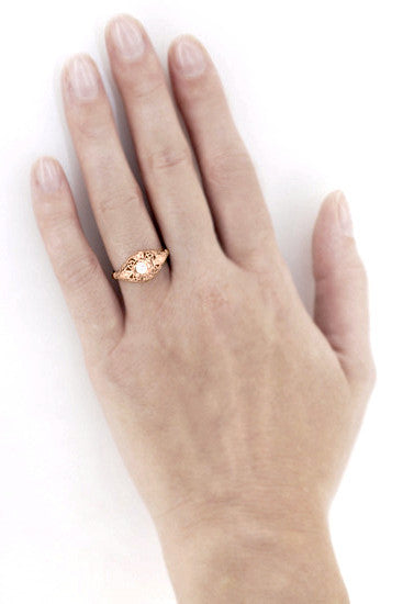 White Sapphire Filigree Scroll Dome Edwardian Engagement Ring in 14 Karat Rose Gold - Item: R139RWS - Image: 4