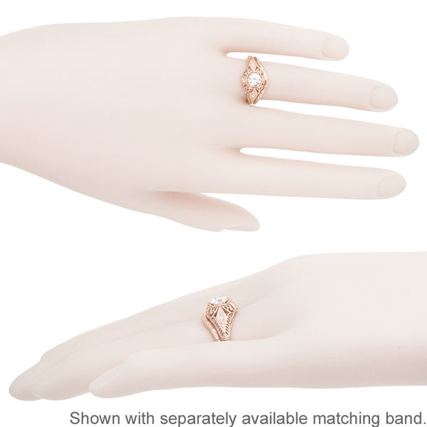 White Sapphire Filigree Scroll Dome Edwardian Engagement Ring in 14 Karat Rose Gold - Item: R139RWS - Image: 5