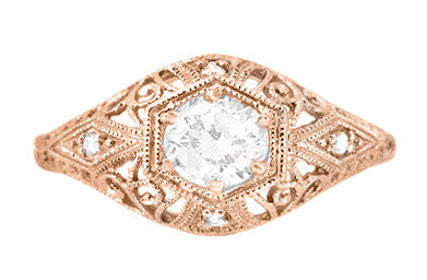 White Sapphire Filigree Scroll Dome Edwardian Engagement Ring in 14 Karat Rose Gold - Item: R139RWS - Image: 1