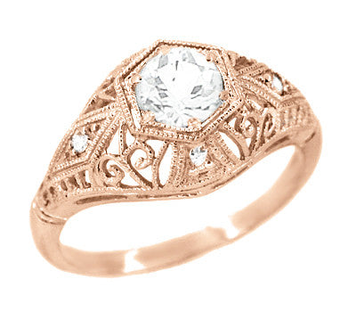 white sapphire filigree scroll dome edwardian engagement ring in 14 karat rose gold - Rose Gold Wedding Ring Sets