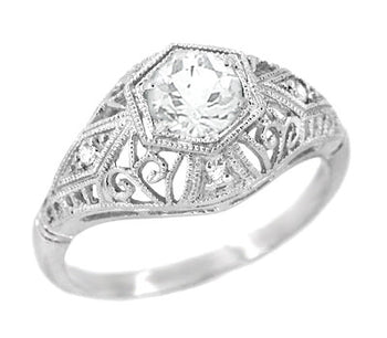 Edwardian White Sapphire Scroll Dome Filigree Engagement Ring in 14 Karat White Gold