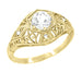 Scroll Dome Filigree Edwardian Diamond Engagement Ring in 14 Karat Yellow Gold