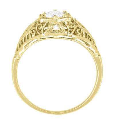 Antique Style White Sapphire Scroll Dome Filigree Edwardian Engagement Ring in 14 Karat Yellow Gold - Item: R139YWS - Image: 3