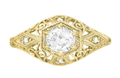 Antique Style White Sapphire Scroll Dome Filigree Edwardian Engagement Ring in 14 Karat Yellow Gold - Item: R139YWS - Image: 1
