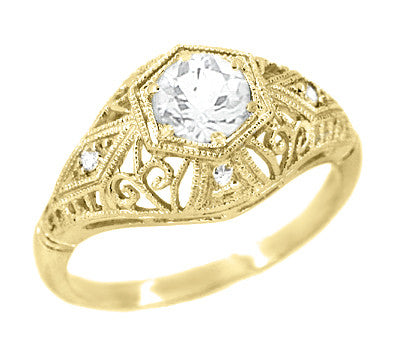 Antique Style White Sapphire Scroll Dome Filigree Edwardian Engagement Ring in 14 Karat Yellow Gold