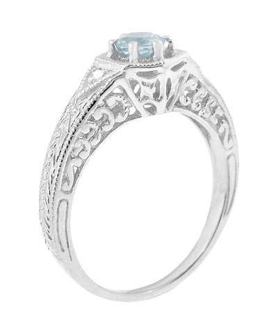 Art Deco Aquamarine and Diamond Filigree Engraved Engagement Ring in Platinum - Item: R149PA - Image: 2