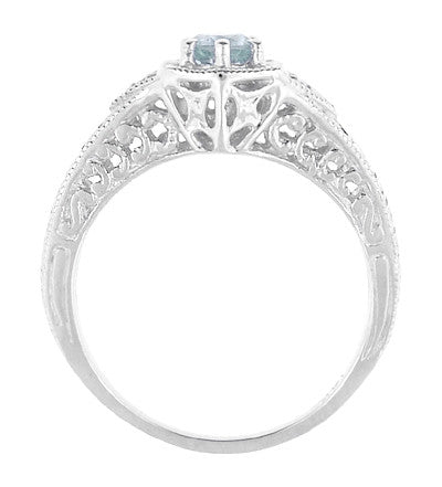 Art Deco Aquamarine and Diamond Filigree Engraved Engagement Ring in Platinum - Item: R149PA - Image: 1