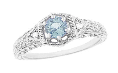 Art Deco Aquamarine and Diamond Filigree Engraved Engagement Ring in Platinum
