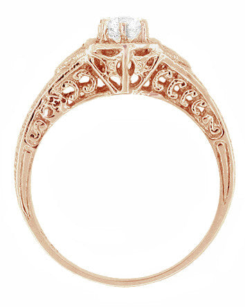 Art Deco White Sapphire Filigree Engraved Engagement Ring in 14 Karat Rose ( Pink ) Gold - Item: R149RWS - Image: 2