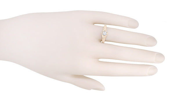 Art Deco White Sapphire Filigree Engraved Engagement Ring in 14 Karat Rose ( Pink ) Gold - Item: R149RWS - Image: 3