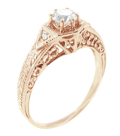 Art Deco White Sapphire Filigree Engraved Engagement Ring in 14 Karat Rose ( Pink ) Gold - Item: R149RWS - Image: 1