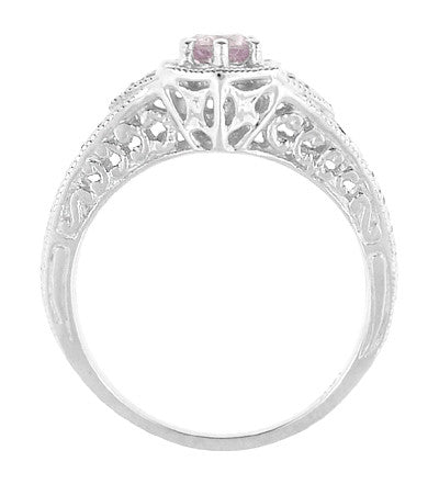 Art Deco Morganite and Diamond Filigree Engraved Engagement Ring in 14 Karat White Gold - Item: R149WM - Image: 2
