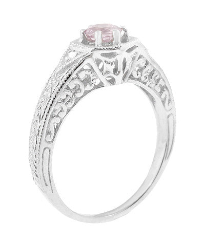 Art Deco Morganite and Diamond Filigree Engraved Engagement Ring in 14 Karat White Gold - Item: R149WM - Image: 1