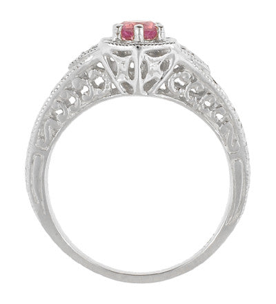 Art Deco Pink Sapphire and Diamond Filigree Engraved Engagement Ring in 14 Karat White Gold - Item: R149WPS - Image: 2