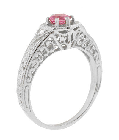 Art Deco Pink Sapphire and Diamond Filigree Engraved Engagement Ring in 14 Karat White Gold - Item: R149WPS - Image: 1