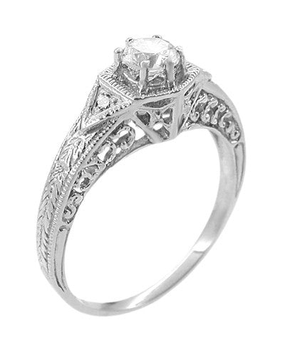 Art Deco White Sapphire Filigree Engraved Engagement Ring in 14 Karat White Gold - Item: R149WS - Image: 2